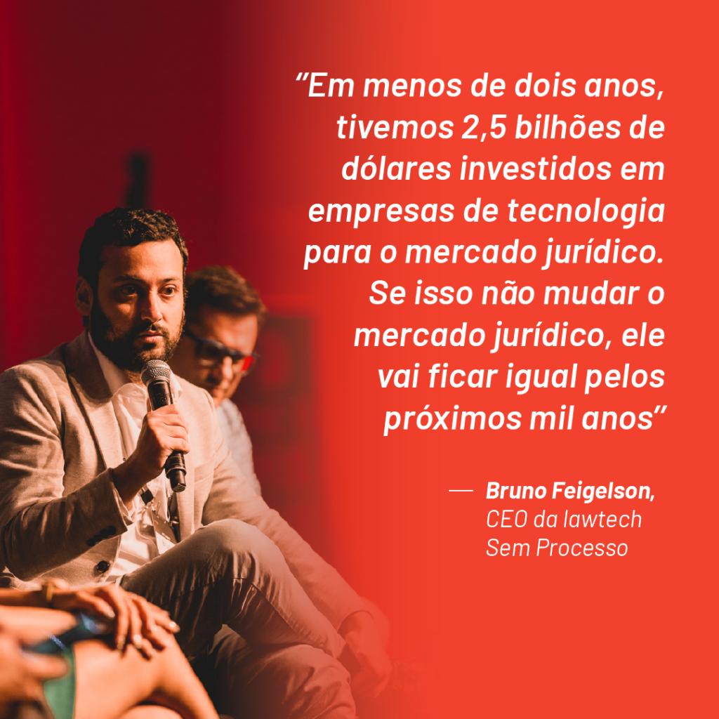 """Foto de Bruno Feigelson no palco do Aurum Summit 2019 com a seguinte citação que ele fez durante o evento: """"Em menos de dois anos, a gente teve 2,5 bilhões de dólares investidos em empresas de tecnologia para o mercado jurídico. Se isso não mudar o mercado jurídico, ele vai ficar igual pelos próximos mil anos"""""""
